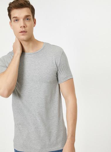 Koton Bisiklet Yaka Likrali Esnek Kumasli Süper Slim Fit T-Shirt Gri